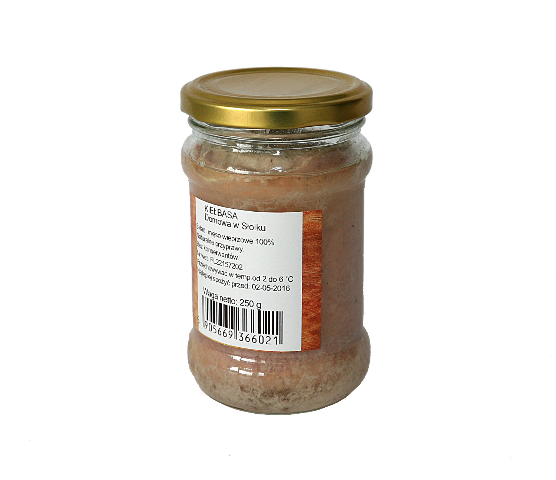 kiełbasa domowakiełbasa w słoiku z mięsa z szynki i łopatki, doskonała na kanapki, tradycyjny sposób na dłuższe przechowywanie produktów