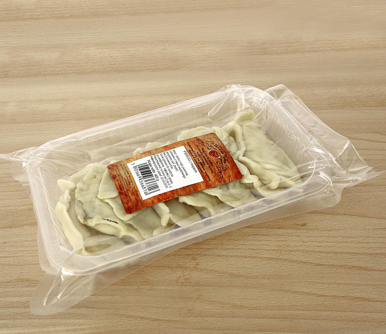 pierogi z mięsemz farszem z mięsa wieprzowego, bez konserwantów, 9 szt w opakowaniu na tacce