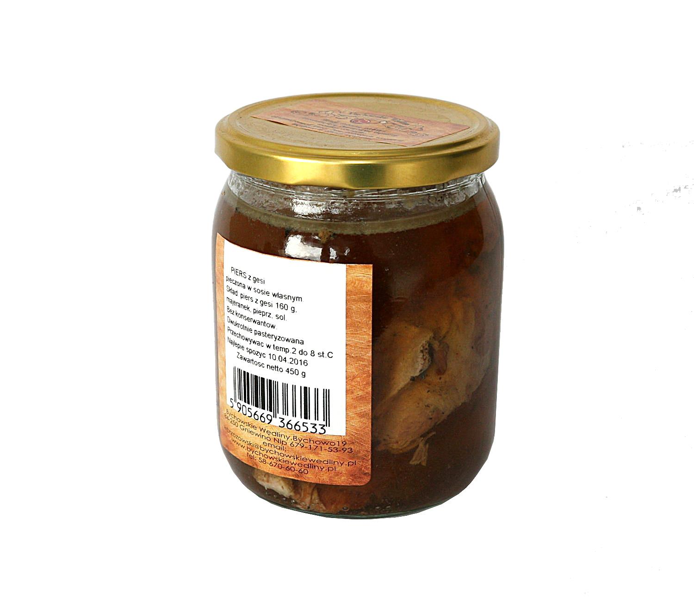 pierś z gesi w sosie własnympierś z gęsi 160g , majeranek, pieprz, sól, bez konserwantów