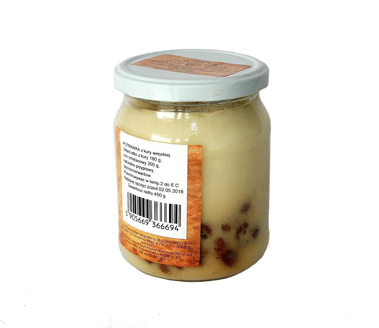 potrawka z kury wiejskiej w sosie muślinowymbardzo tradycyjna, kaszubska potrawa, na wesela i przyjęcia komunijne, udko z kury 180g, rodzynki, jajko, mąka, naturalne przyprawy, bez konserwantów, zawiera glutenu
