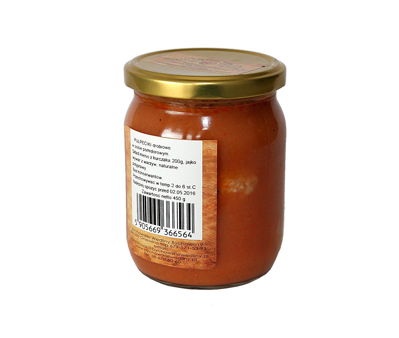 pulpeciki drobiowe w sosie pomidorowymmięso z kurczaka bez skóry 200g, jajko,  wywar z warzyw 200g, koncentrat pomidorowy, maka, bez konserwantów, zawiera gluten