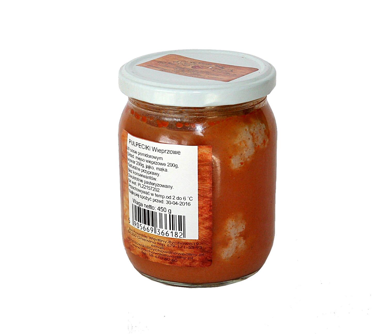 pulpeciki wieprzowe w sosie pomidorowymmięso wieprzowe 200g, jajko, mąka,,wywar z warzyw 200g, koncentrat pomidorowy,  bez konserwantów,  zawiera gluten
