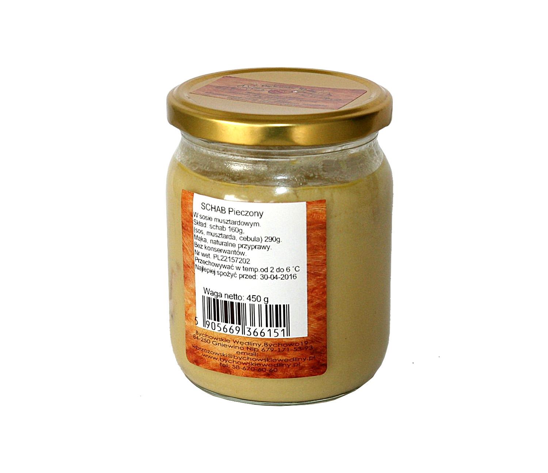 schab pieczony w sosie musztardowymmięso ze schabu 160g, sól, pieprz, koncentrat pomidorowy,     mąka , musztarda, wywar z warzyw 200g,  bez konserwantów, zawiera gluten