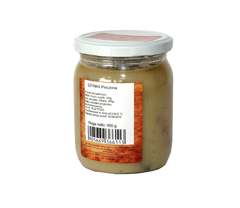 szynka w sosie pieczarkowymmięso z szynki 160g, sol, pieprz,  pieczarki 50g, mąka, jajko, wywar z warzyw 200g, bez konserwantów, zawiera  gluten