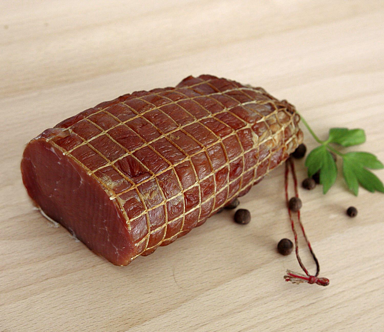 polędwica łososiowamięso z szynki wieprzowej/ zrazowa górna/ wędzona zimnym dymem, nie parzona.