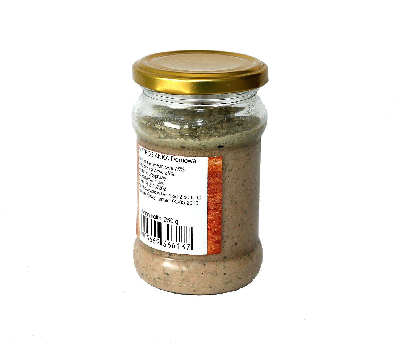 wątrobianka w słoikudoskonała na kanapki, mięso wieprzowe 75%, wątroba wieprzowa 25%, naturalne przyprawy, bez konserwantów, bez dodatku bułki, nie zawiera glutenu